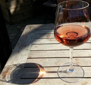 Still life of wineglass in the sun.